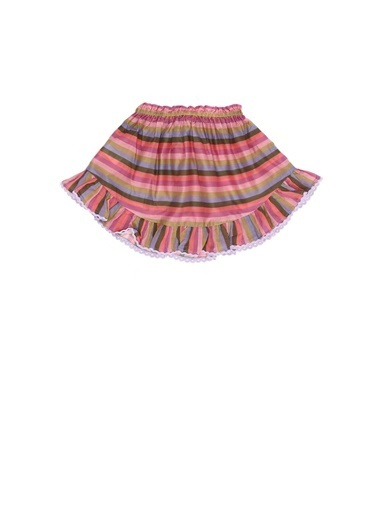 Zimmermann Zimmermann 101600372 Colorblocked Çizgili Pamuklu Kız Çocuk Etek Pembe